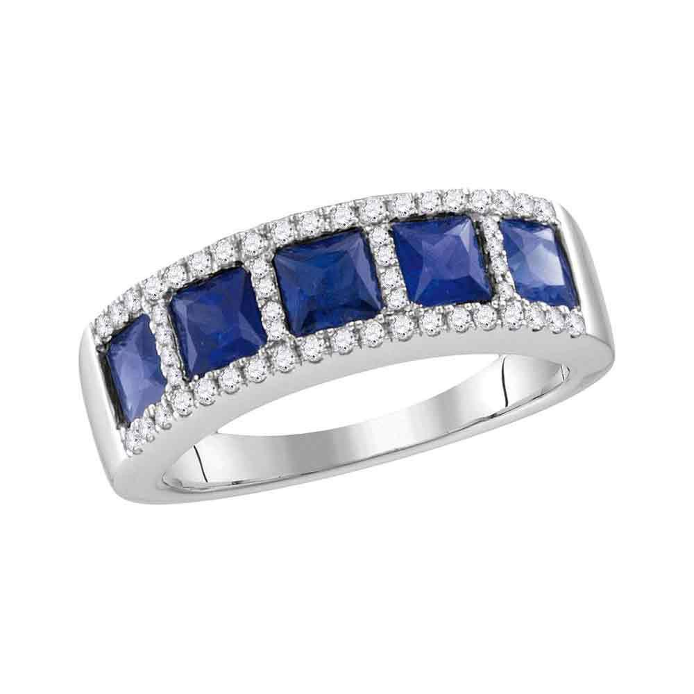 14K White Gold Ring 1.6ctw Lab Blue Sapphire, Diamond,
