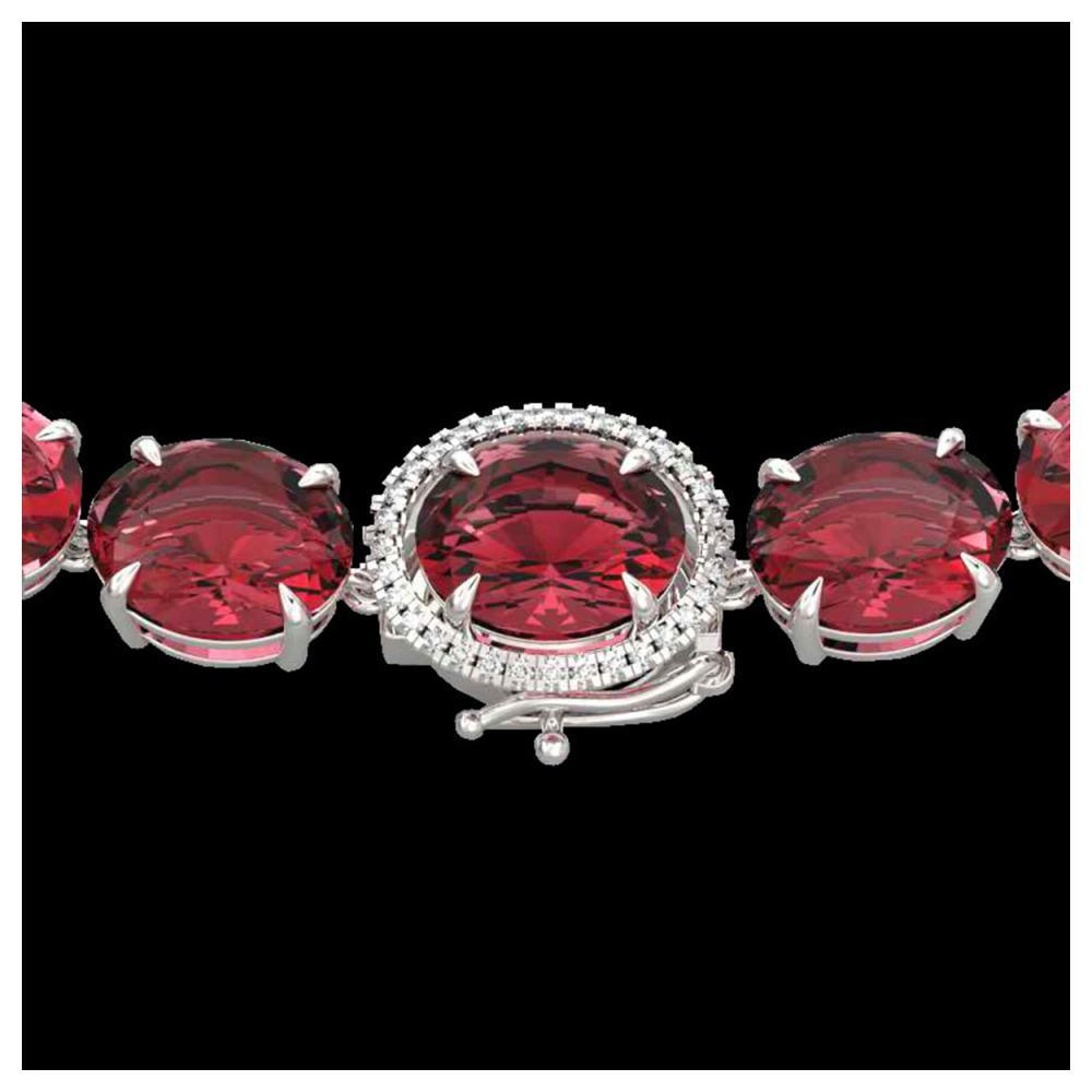 145 ctw Pink Tourmaline & Diamond Necklace 14K White Gold