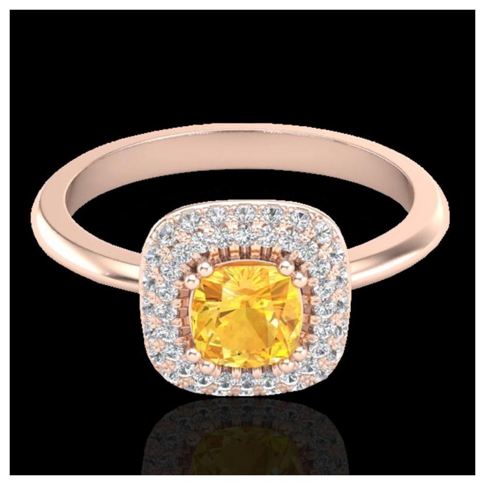 1.16 ctw Citrine & Diamond Ring Halo 14K Rose Gold