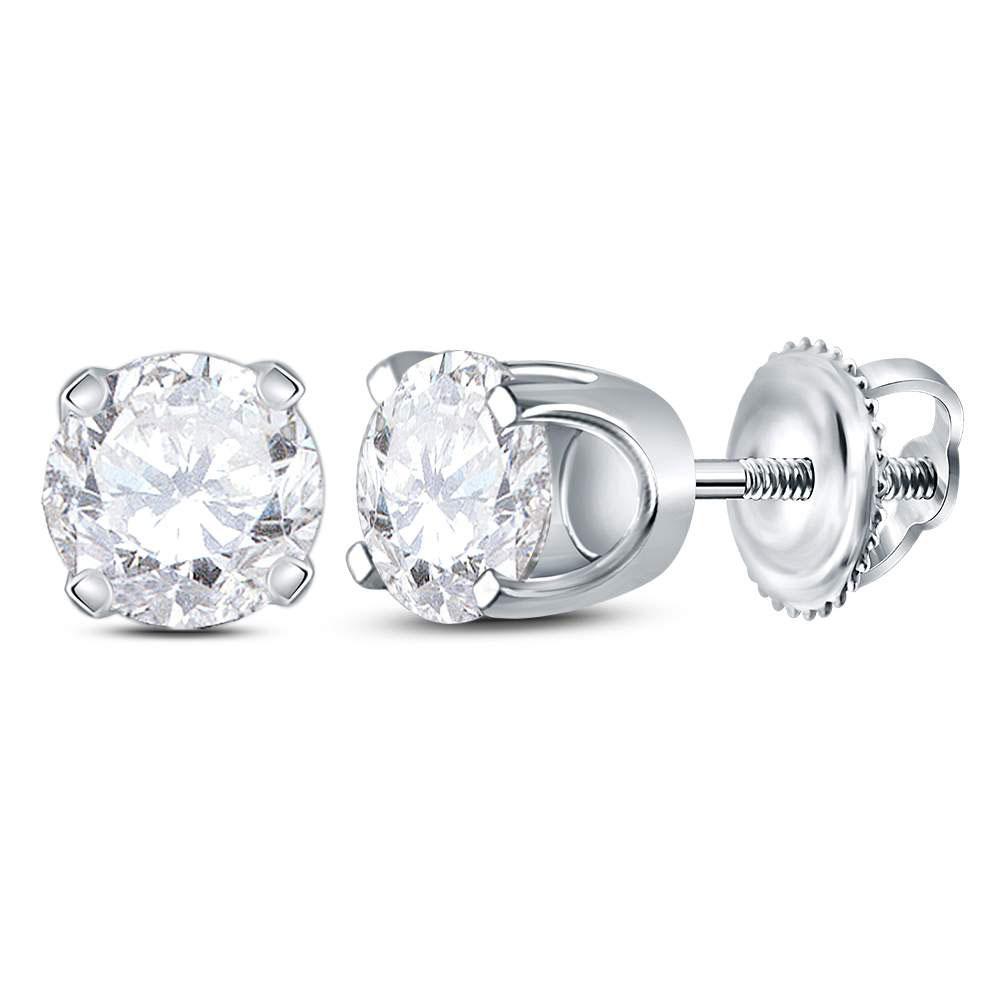 14K White Gold Earrings Solitaire Stud 0.92ctw Diamond