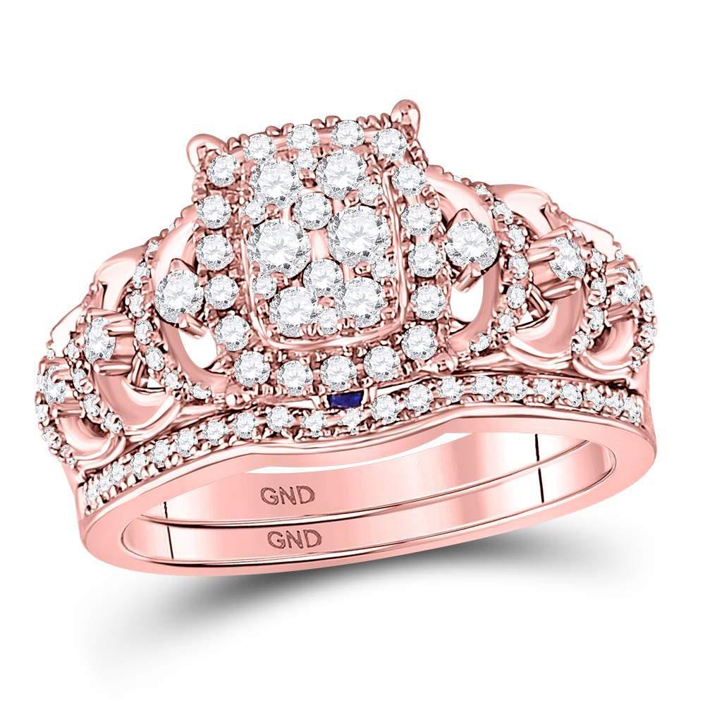 14K Rose Gold Ring 1.02ctw Diamond, Natural Blue Sapphire,