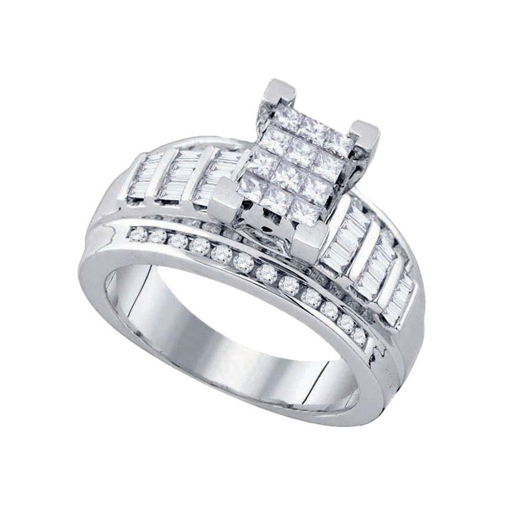 10K White Gold Ring Circle Cluster 0.85ctw Diamond