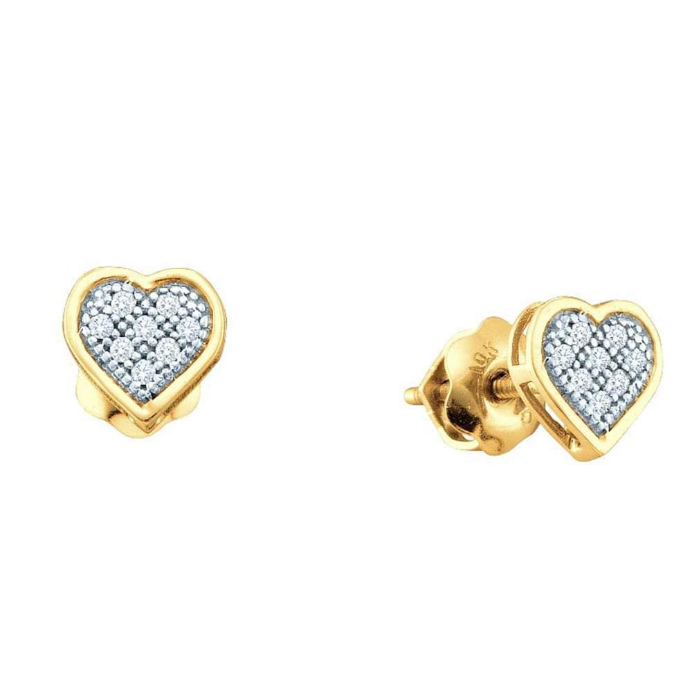 10K Yellow Gold Earrings Heart 0.5ctw Diamond