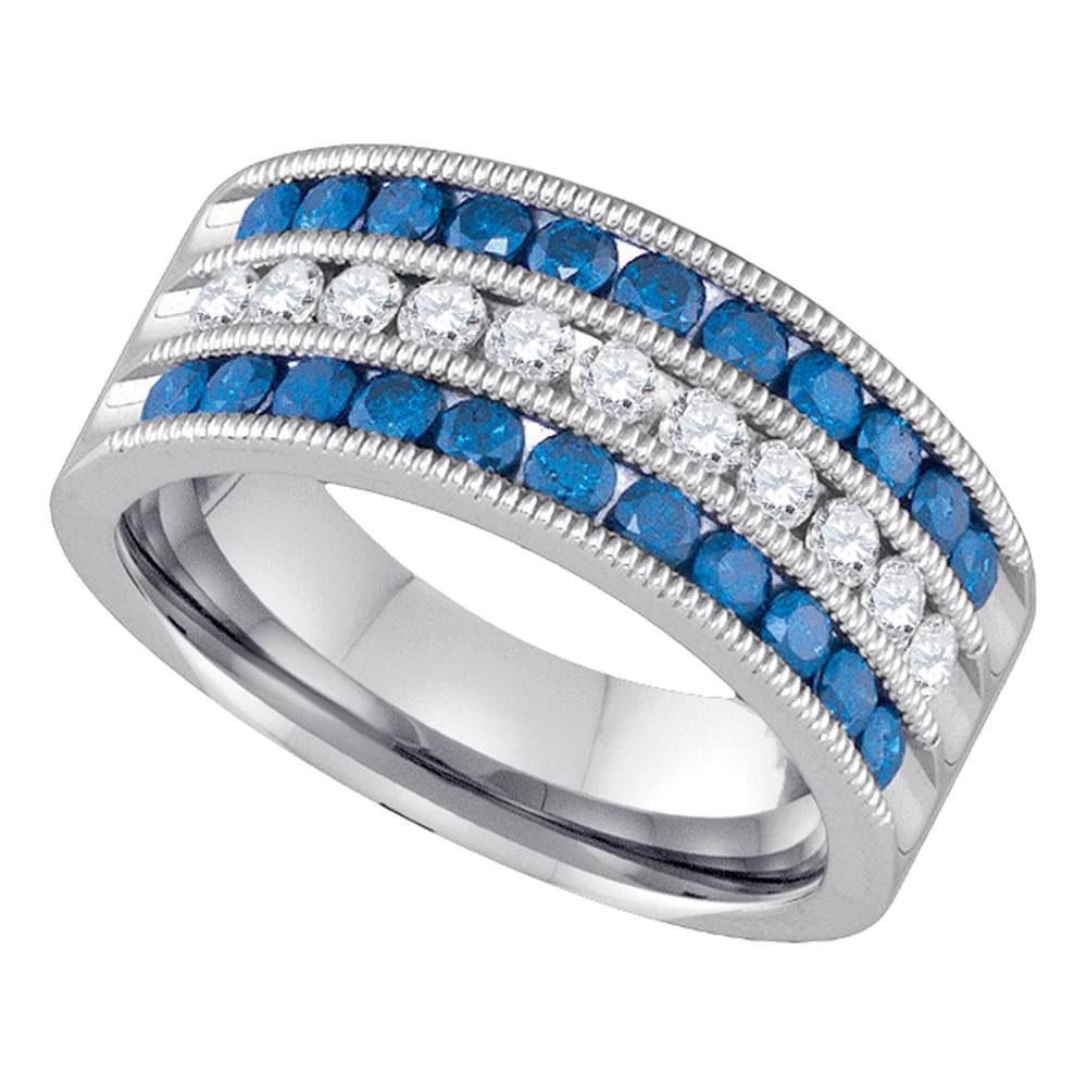 10K White Gold Ring Striped 1.03ctw Colored Blue Diamond, Diamond,