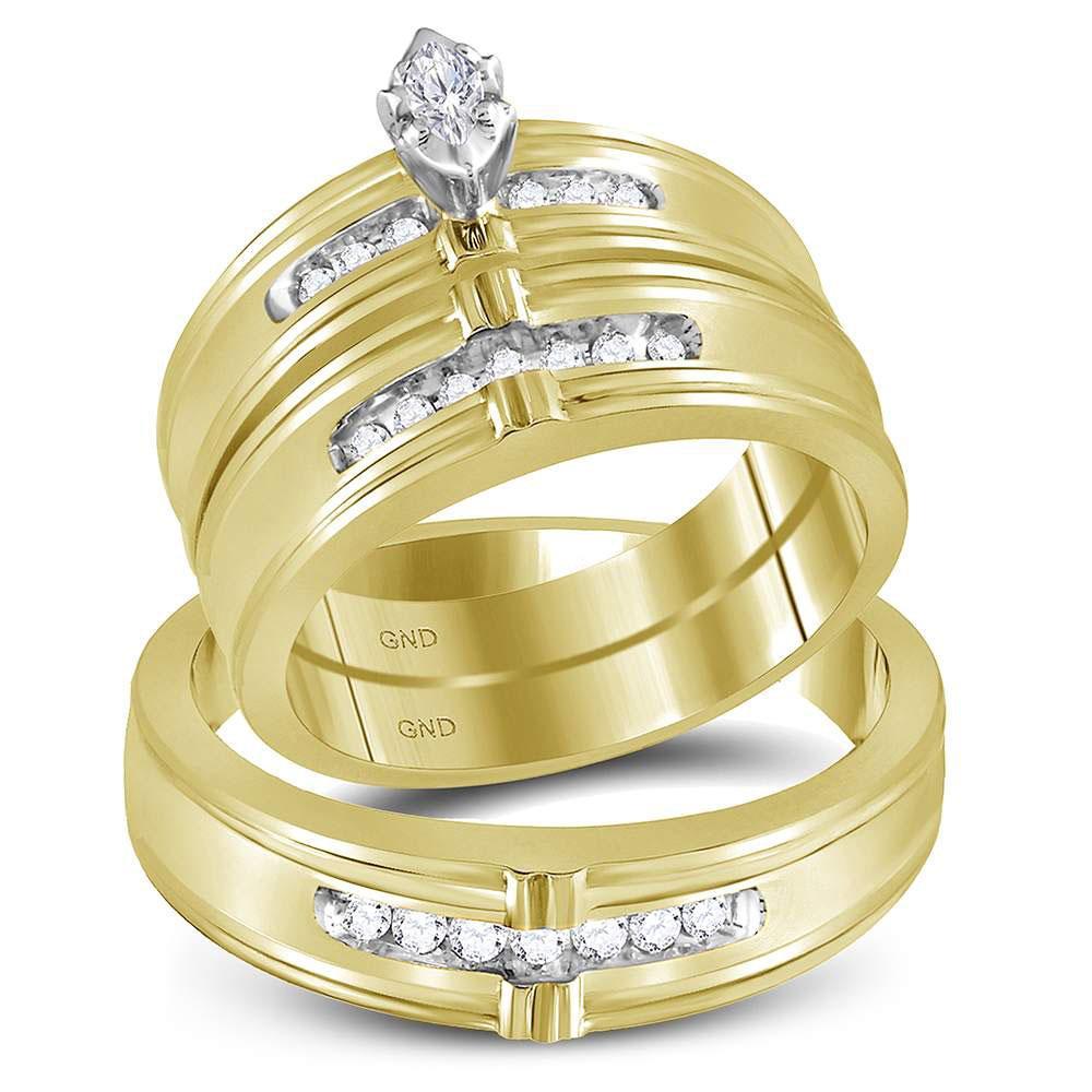 10K Yellow Gold 3-Ring Set Marquise 0.25ctw Diamond
