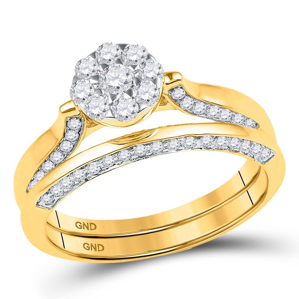 10K Yellow Gold Ring Cluster 0.63ctw Diamond