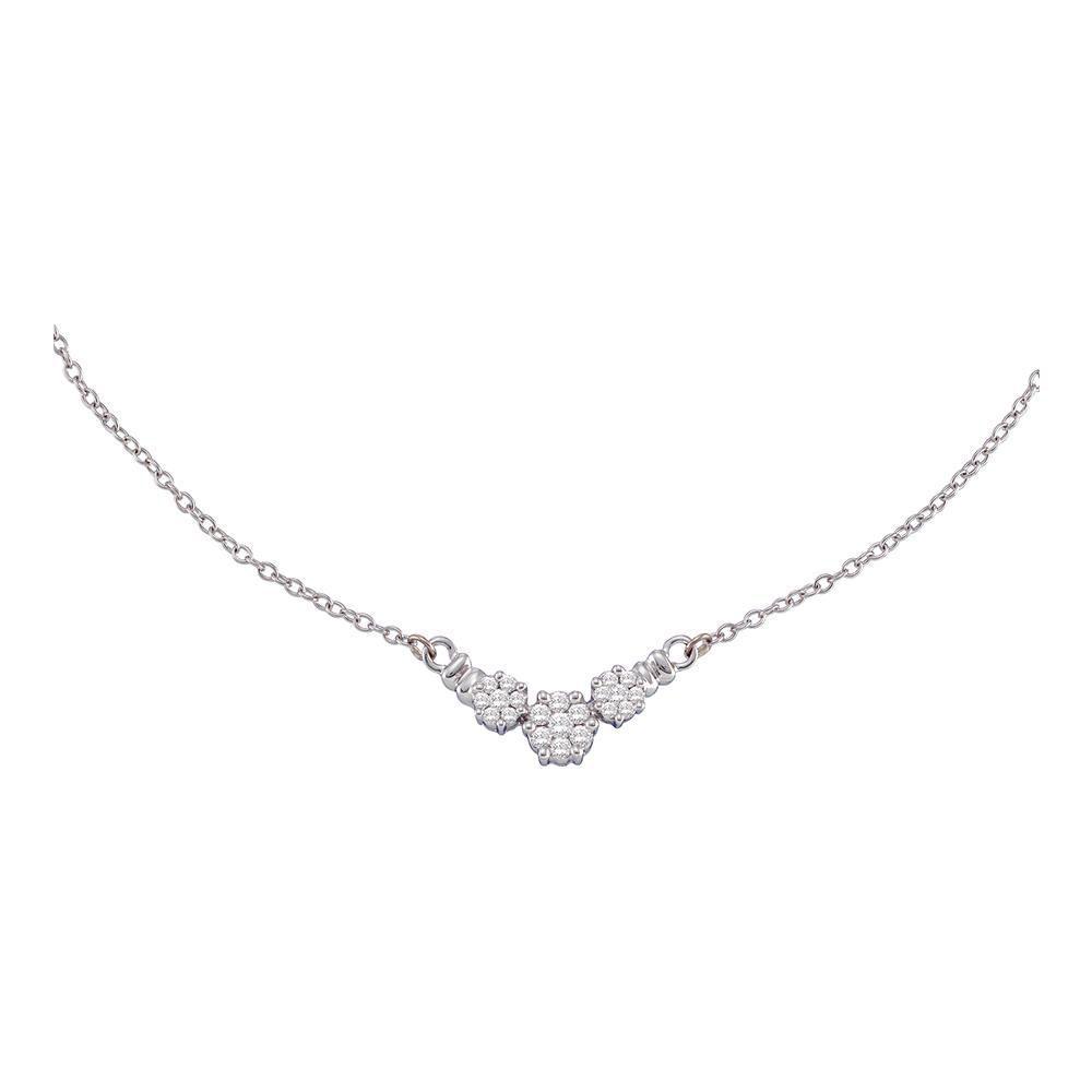 14K White Gold Necklace Flower 0.5ctw Diamond