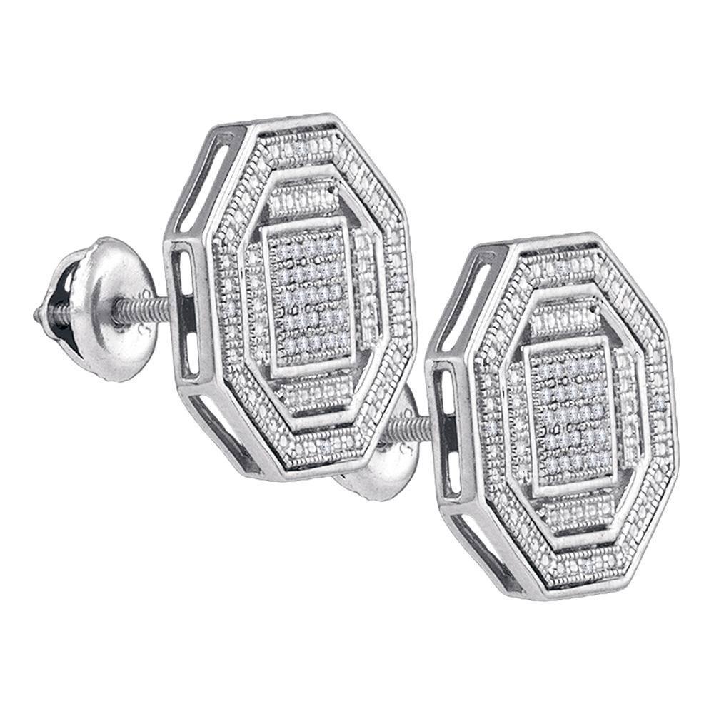 Sterling Silver Earrings 0.17ctw Diamond