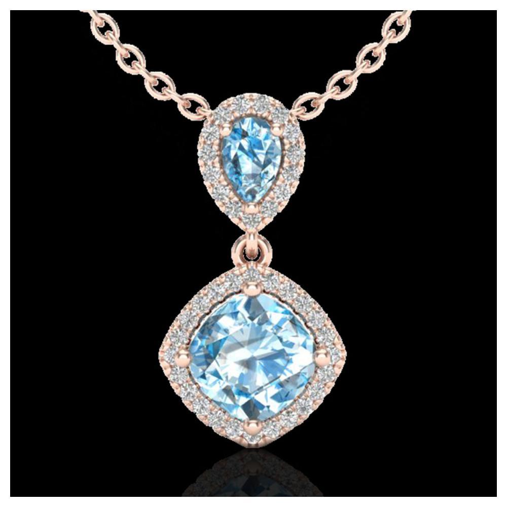 3.50 ctw Sky Blue Topaz & Diamond Necklace 10K Rose Gold