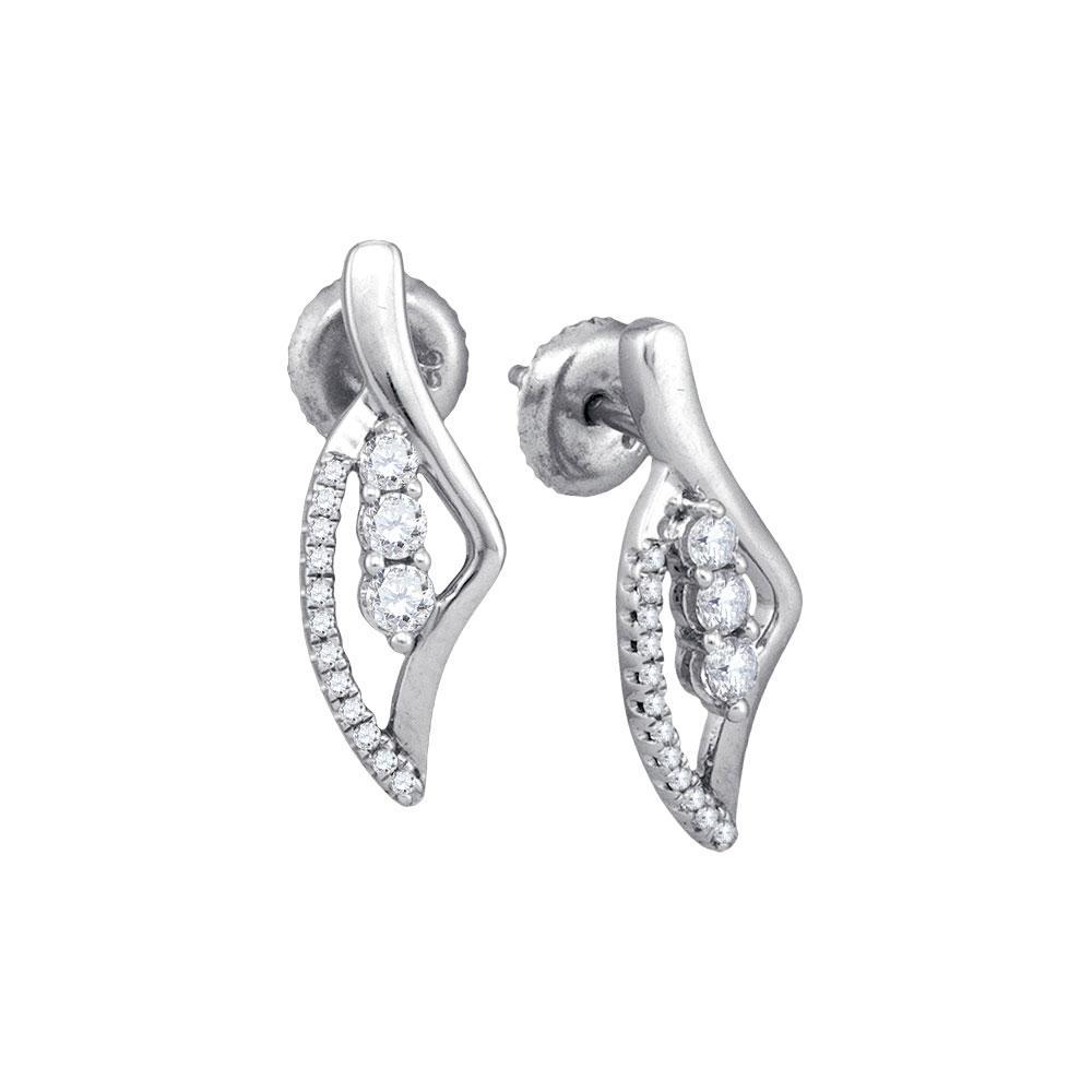 10K White Gold Earrings 3-Stone 0.35ctw Diamond