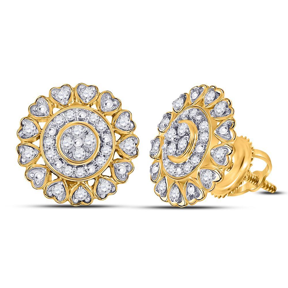 10K Yellow Gold Earrings Heart 0.24ctw Diamond