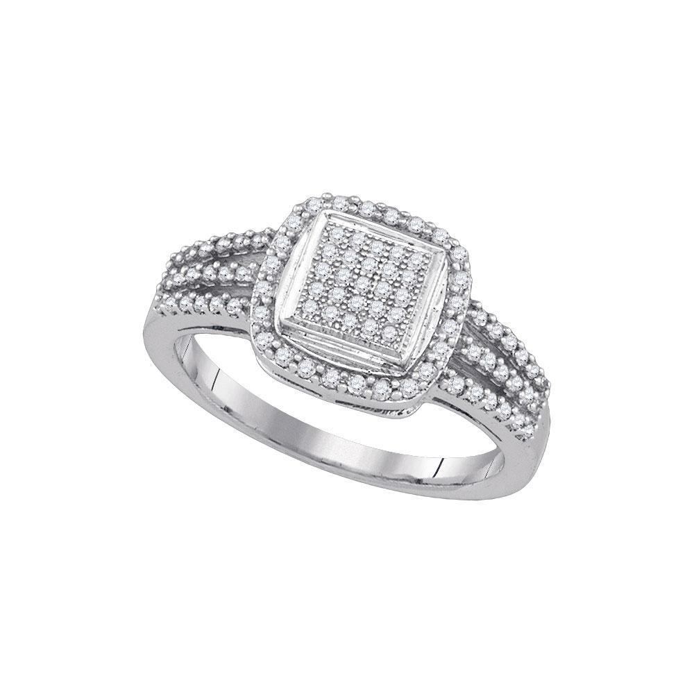 10K White Gold Ring Micro-Pave 0.3ctw Diamond