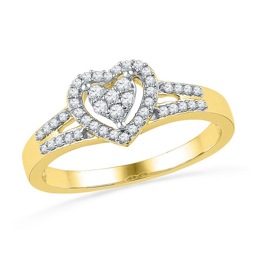 10K Yellow Gold Ring Heart 0.2ctw Diamond