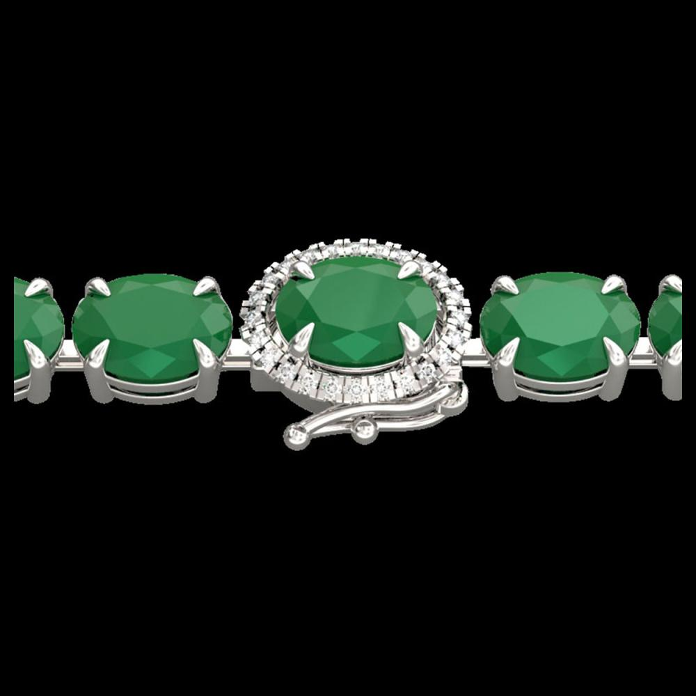 23.25 ctw Emerald & Diamond Bracelet 14K White Gold