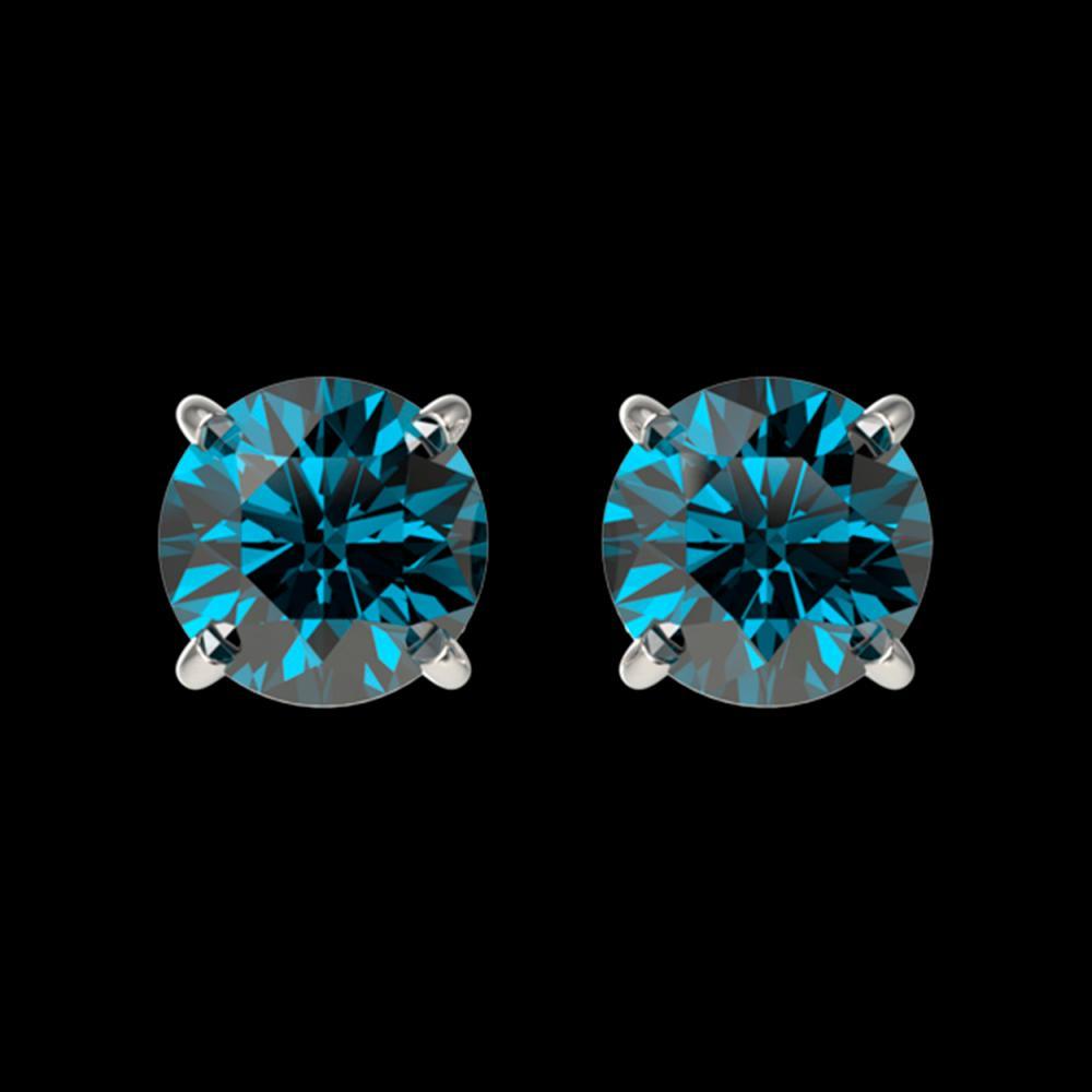 1.08 ctw Intense Blue Diamond Stud Earrings 10K White Gold