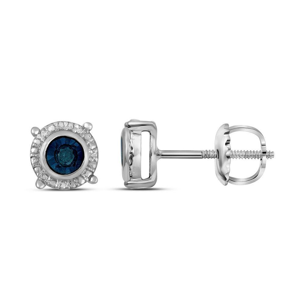 Sterling Silver Earrings 0.1ctw Colored Blue Diamond