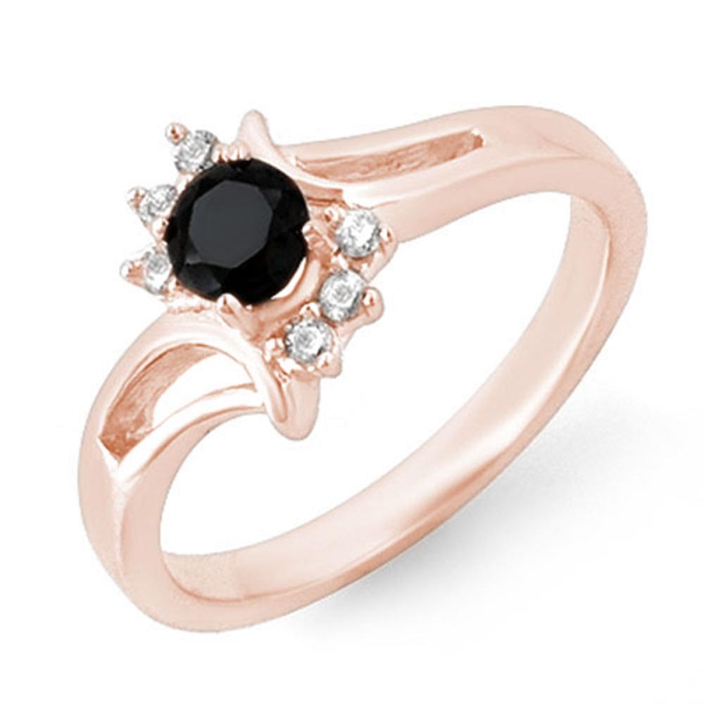 0.53 ctw VS Black & White Diamond Ring 14K Rose Gold