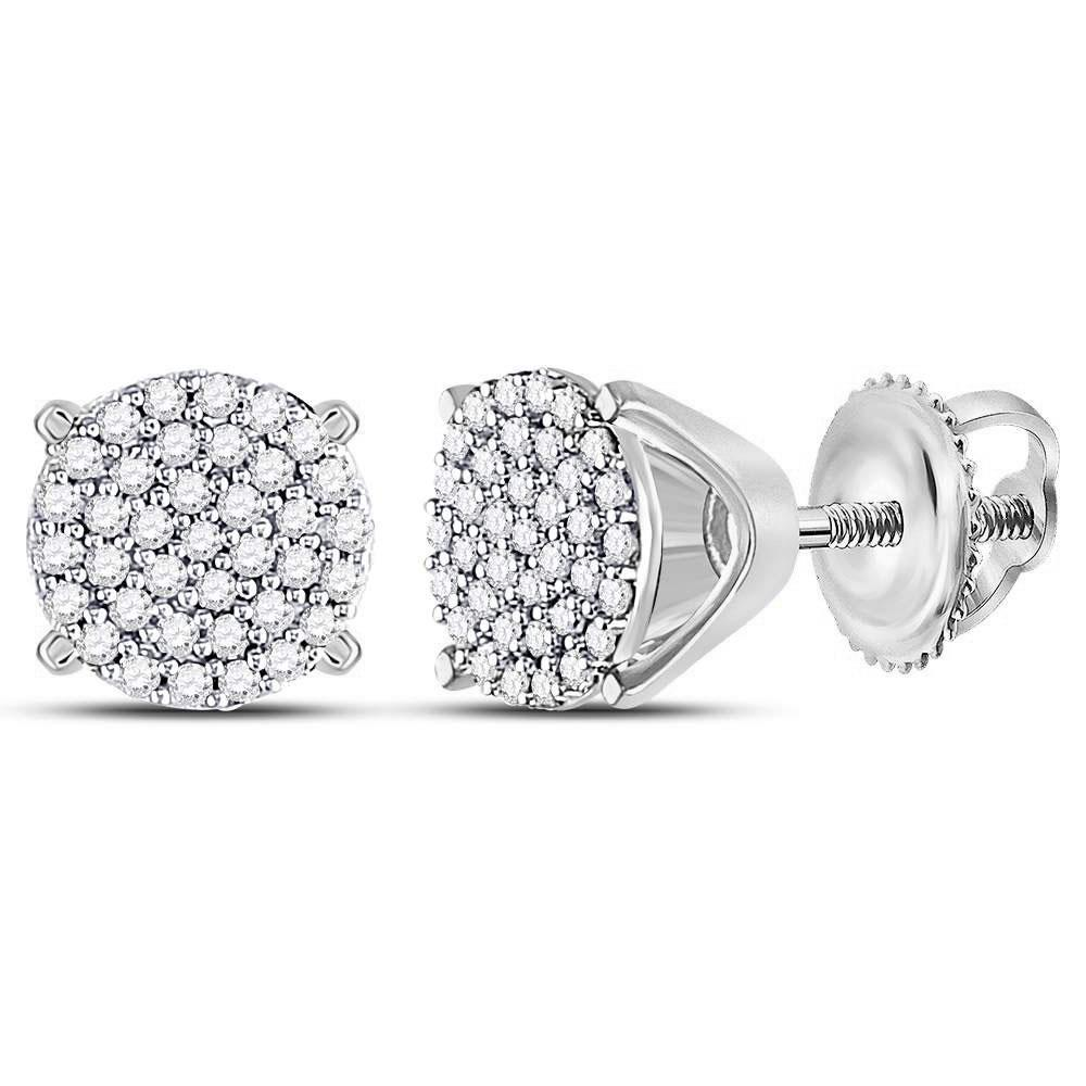 10K White Gold Earrings Circle Cluster 0.25ctw Diamond