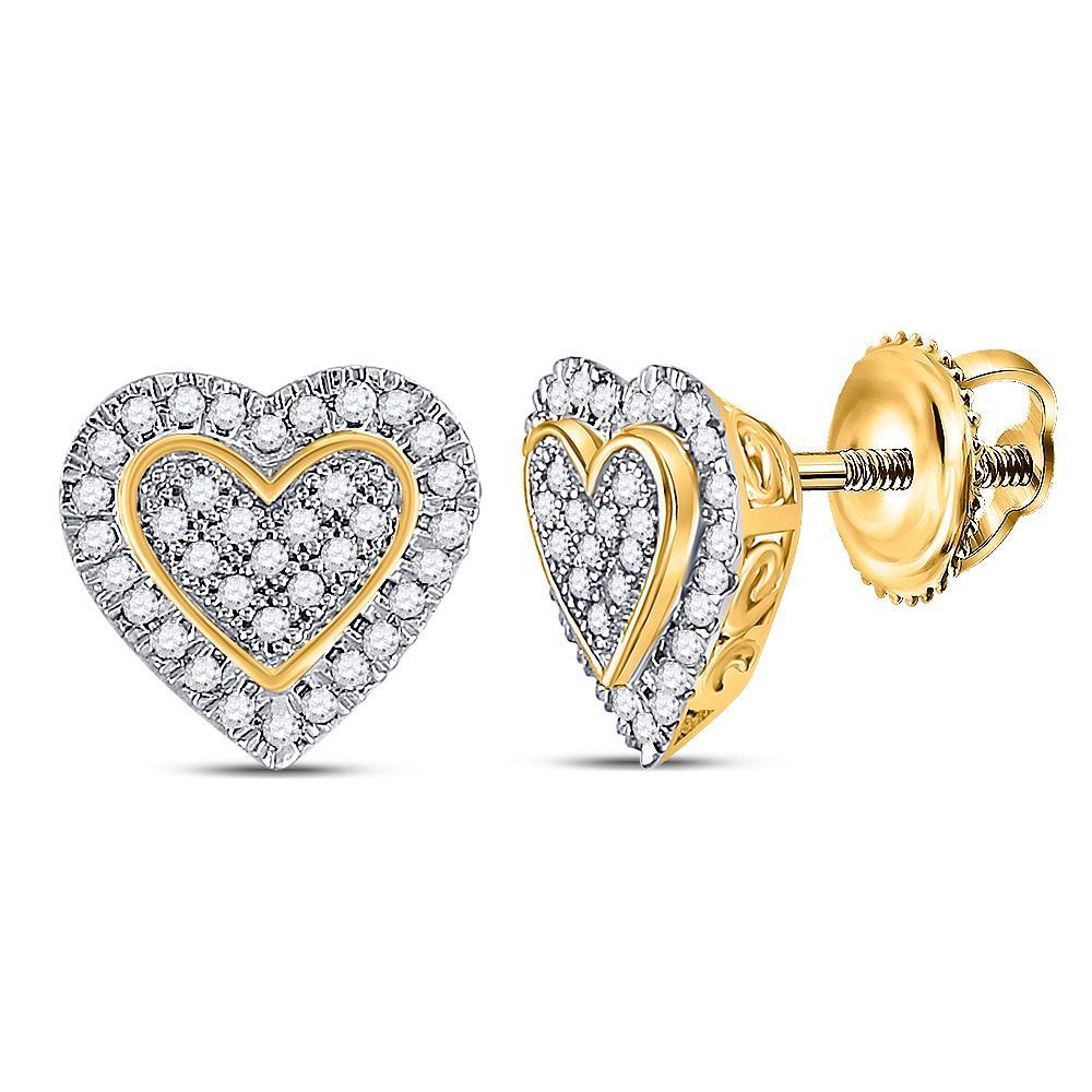 10K Yellow Gold Earrings Heart Cluster 0.25ctw Diamond