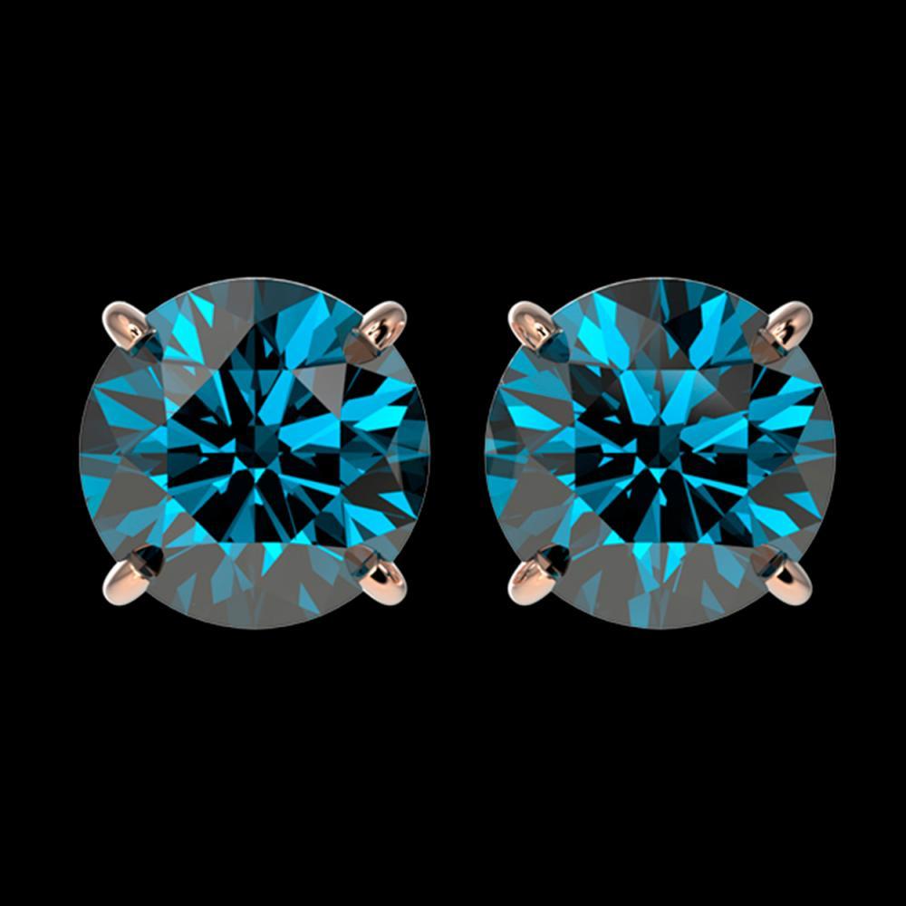 2.50 ctw Intense Blue Diamond Stud Earrings 10K Rose Gold