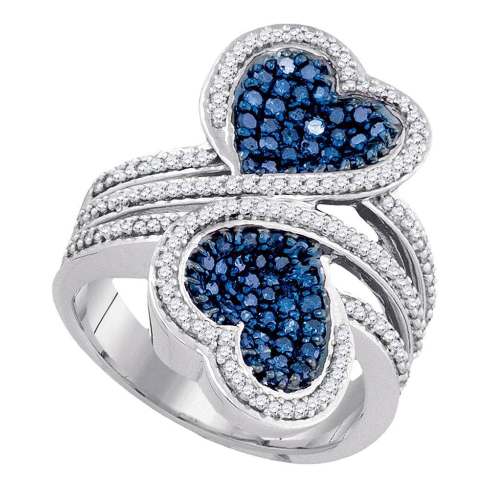 10K White Gold Ring Double Heart 1.1ctw Colored Blue Diamond, Diamond,