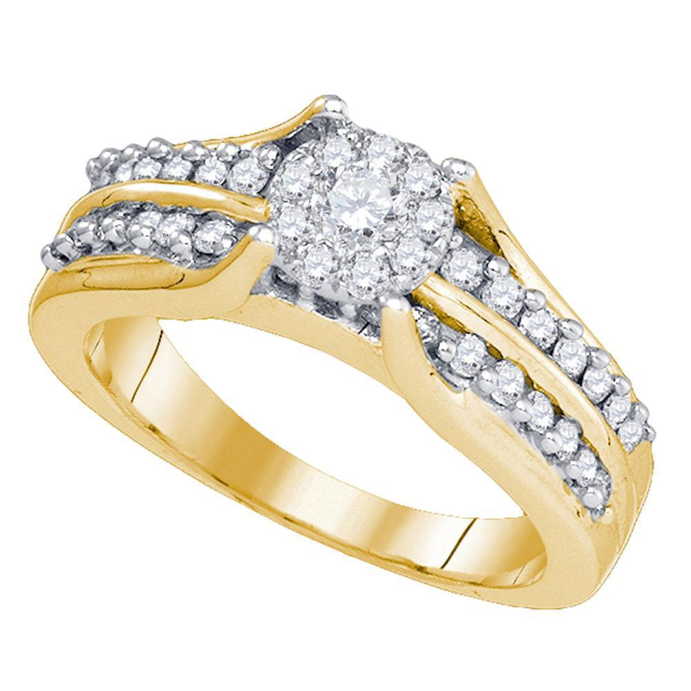 14K Yellow Gold Ring Circle Cluster 0.68ctw Diamond