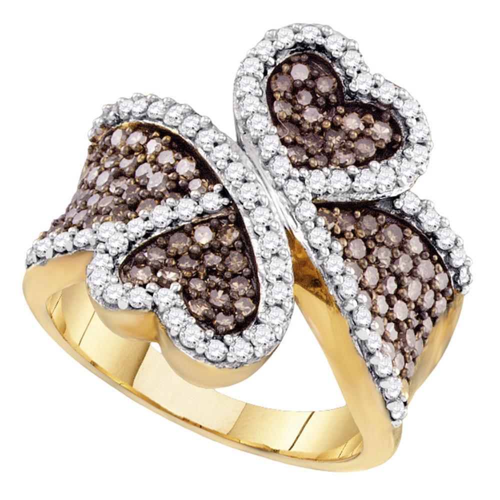 10K Yellow Gold Ring Heart 1.47ctw Brown Diamond, Diamond,