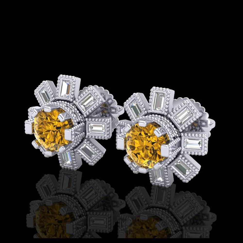 1.77 ctw Intense Fancy Yellow Diamond Art Deco Earrings 18K White Gold