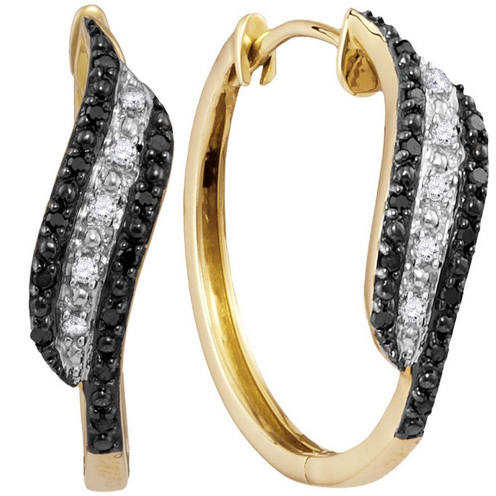 10K Yellow Gold Earrings 0.2ctw Colored Black Diamond, Diamond,
