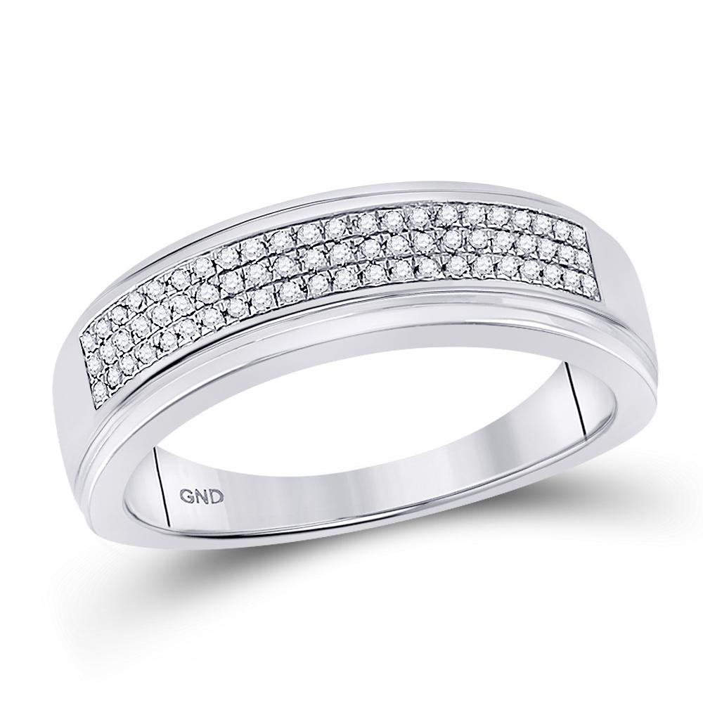 10K White Gold Ring Cluster 0.2ctw Diamond