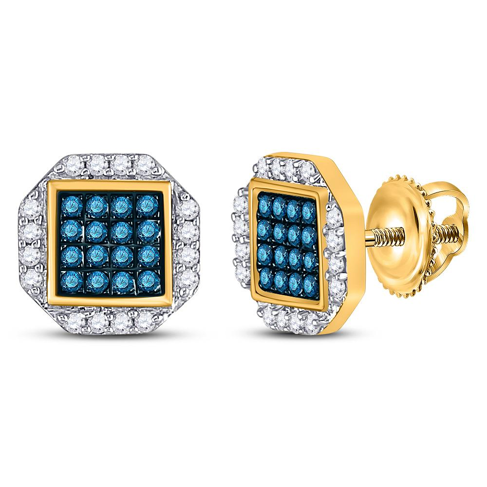 10K Yellow Gold Earrings Cluster 0.4ctw Colored Blue Diamond