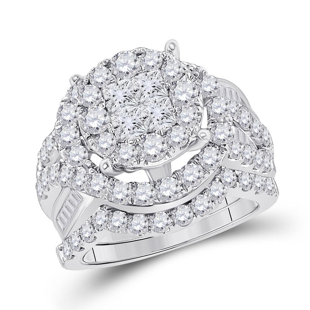 14K White Gold Ring 3.01ctw Diamond