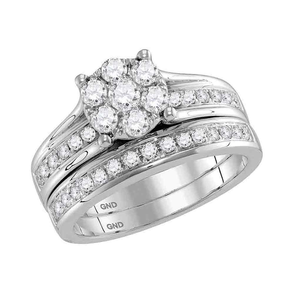 14K White Gold Ring Flower 1ctw Diamond
