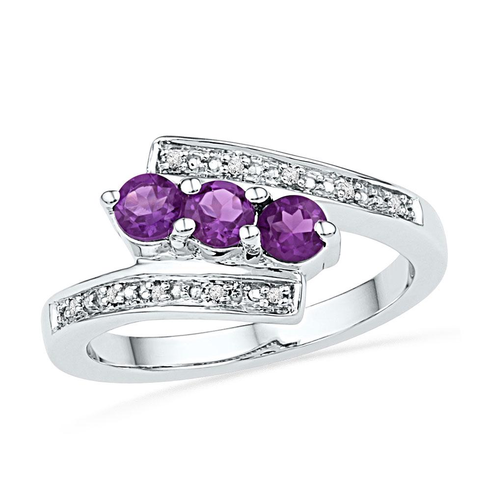 Sterling Silver Ring 0.52ctw Lab Amethyst, Diamond,