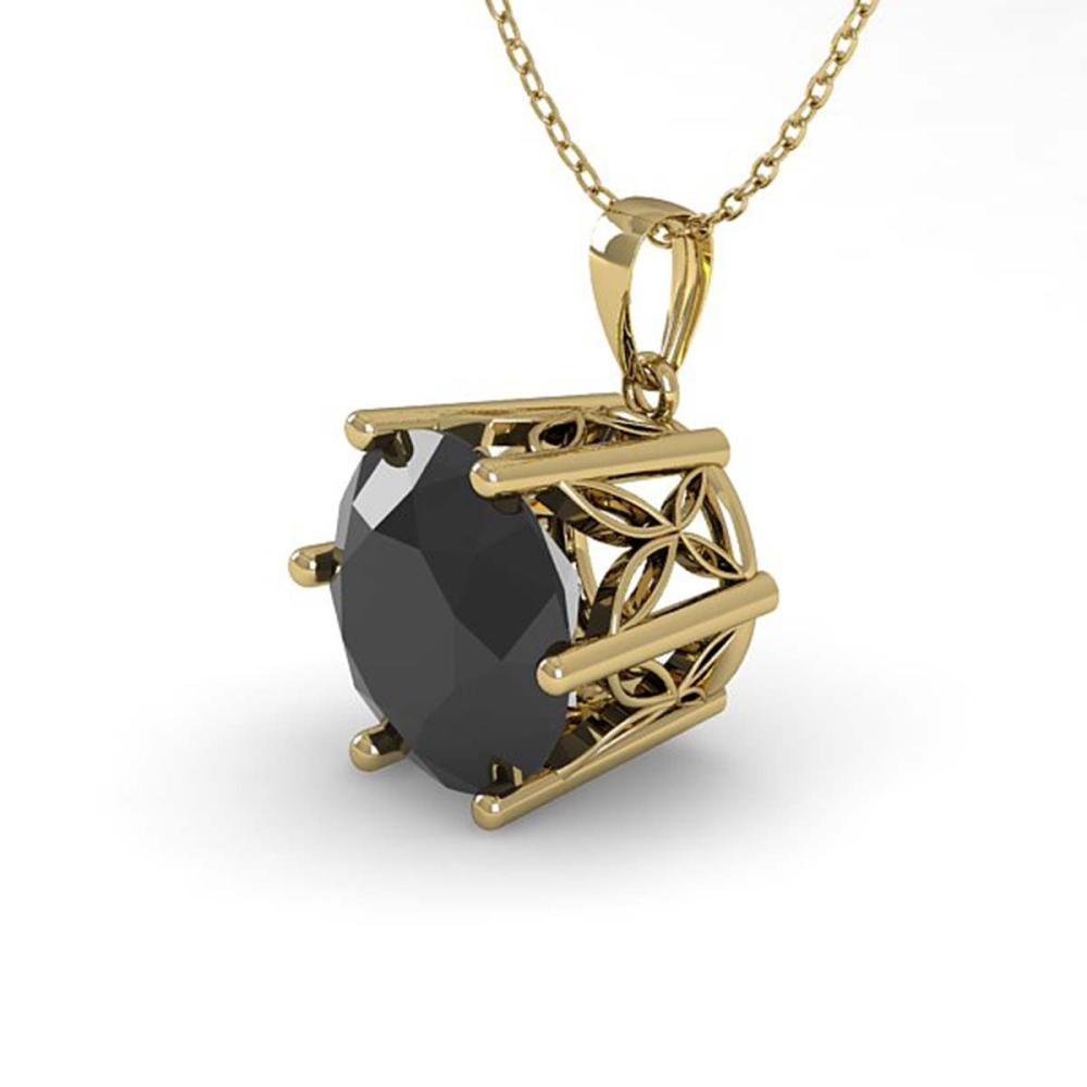 1 ctw Black Diamond Art Deco Necklace 14K Yellow Gold
