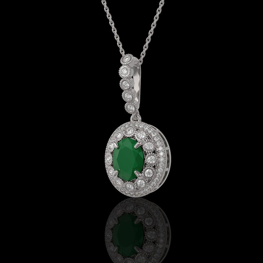 4.67 ctw Emerald & Diamond Necklace 14K White Gold