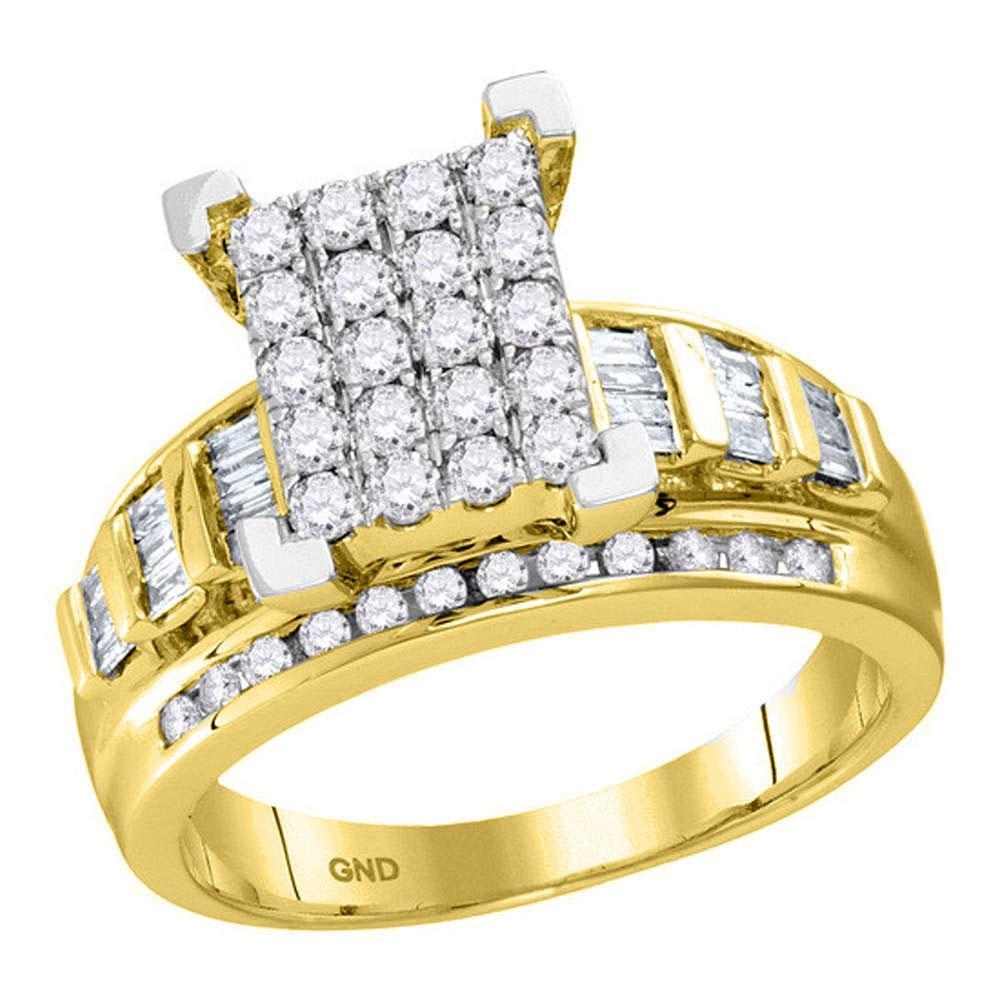 10K Yellow Gold Ring Circle Cluster 0.92ctw Diamond