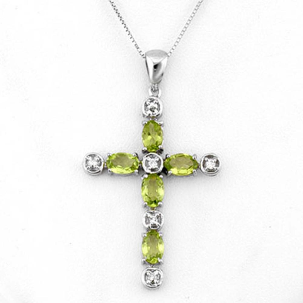 2.15 ctw Peridot & Diamond Necklace 10K White Gold