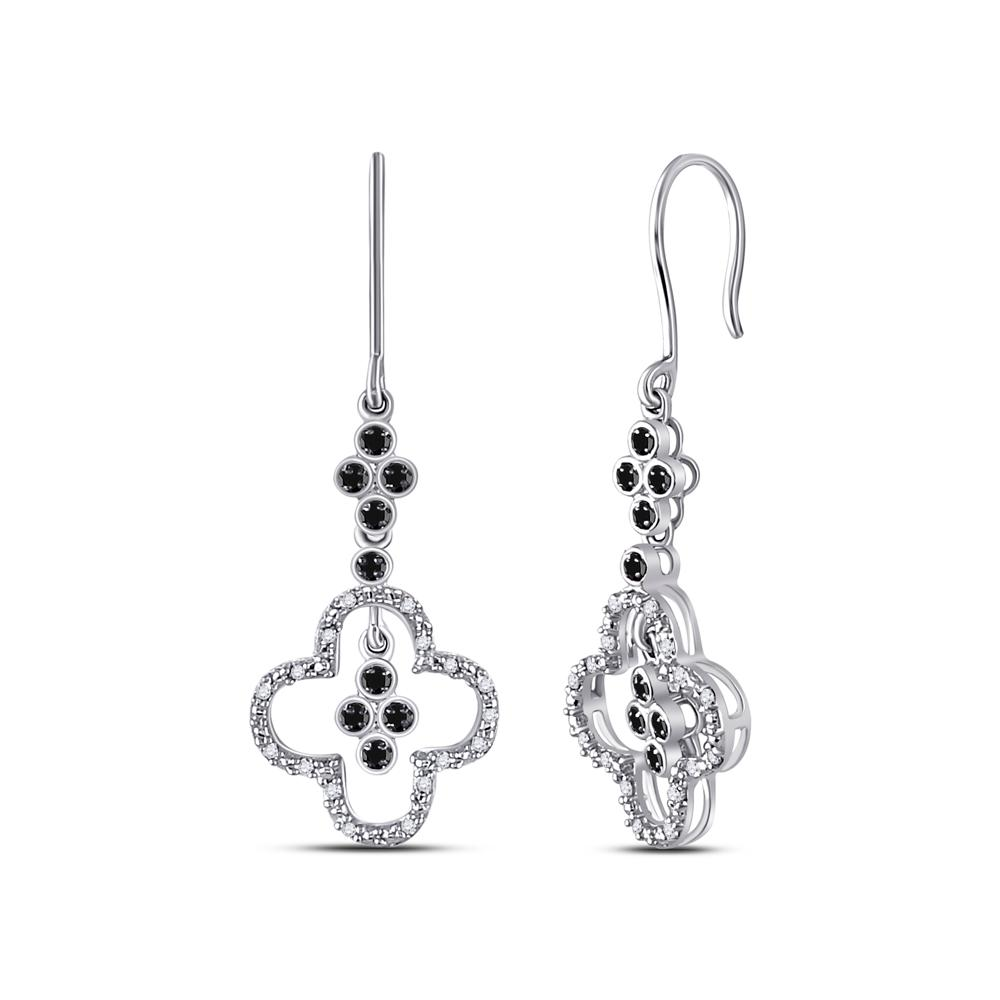 10K White Gold Earrings Dangle 0.14ctw Colored Black Diamond, Diamond,