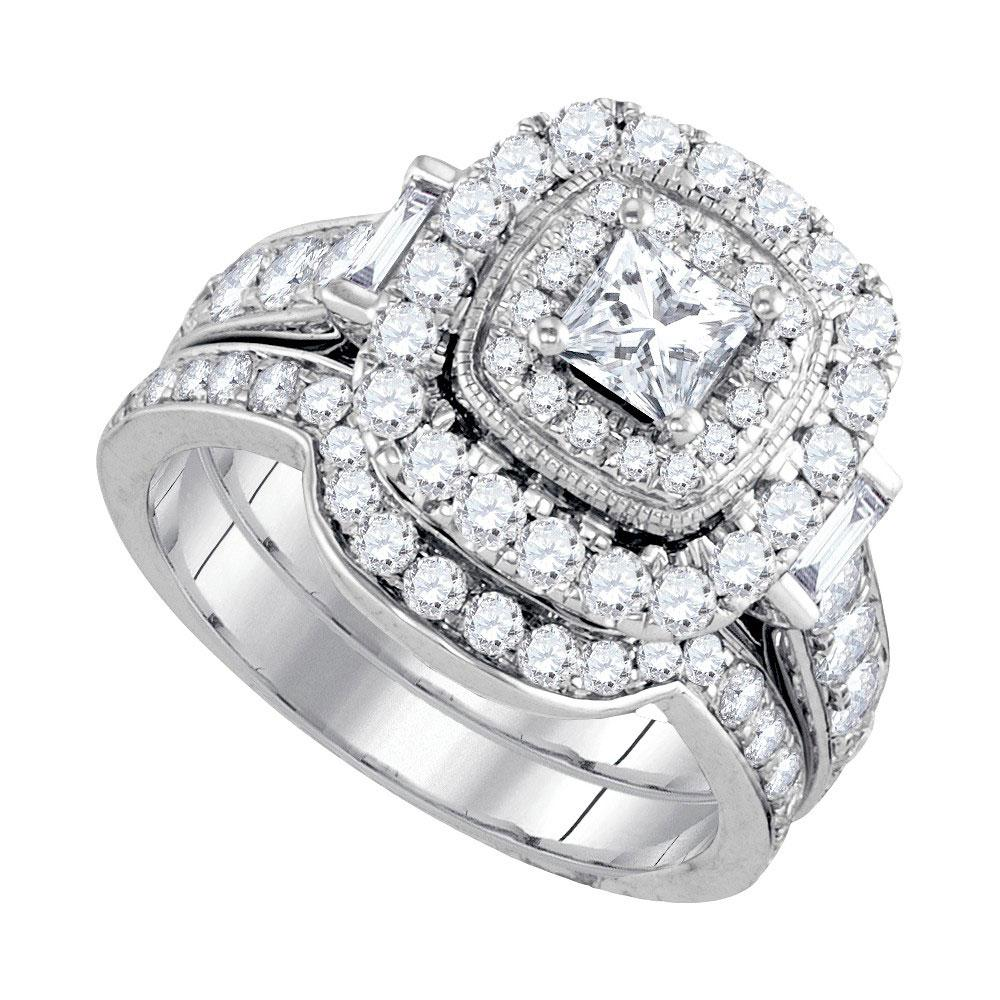 14K White Gold Ring Halo 2ctw Diamond