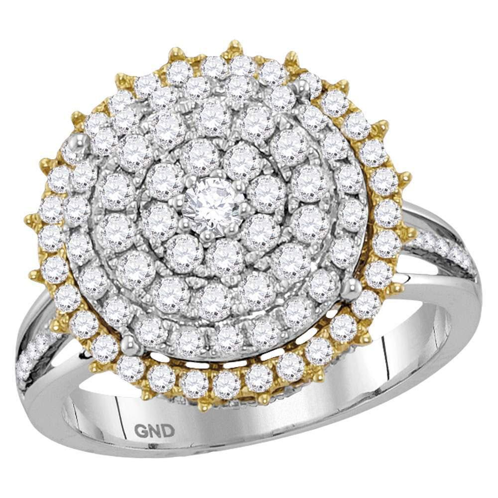 14K 2-tone Gold Ring Right Hand Cocktail 1.46ctw Diamond