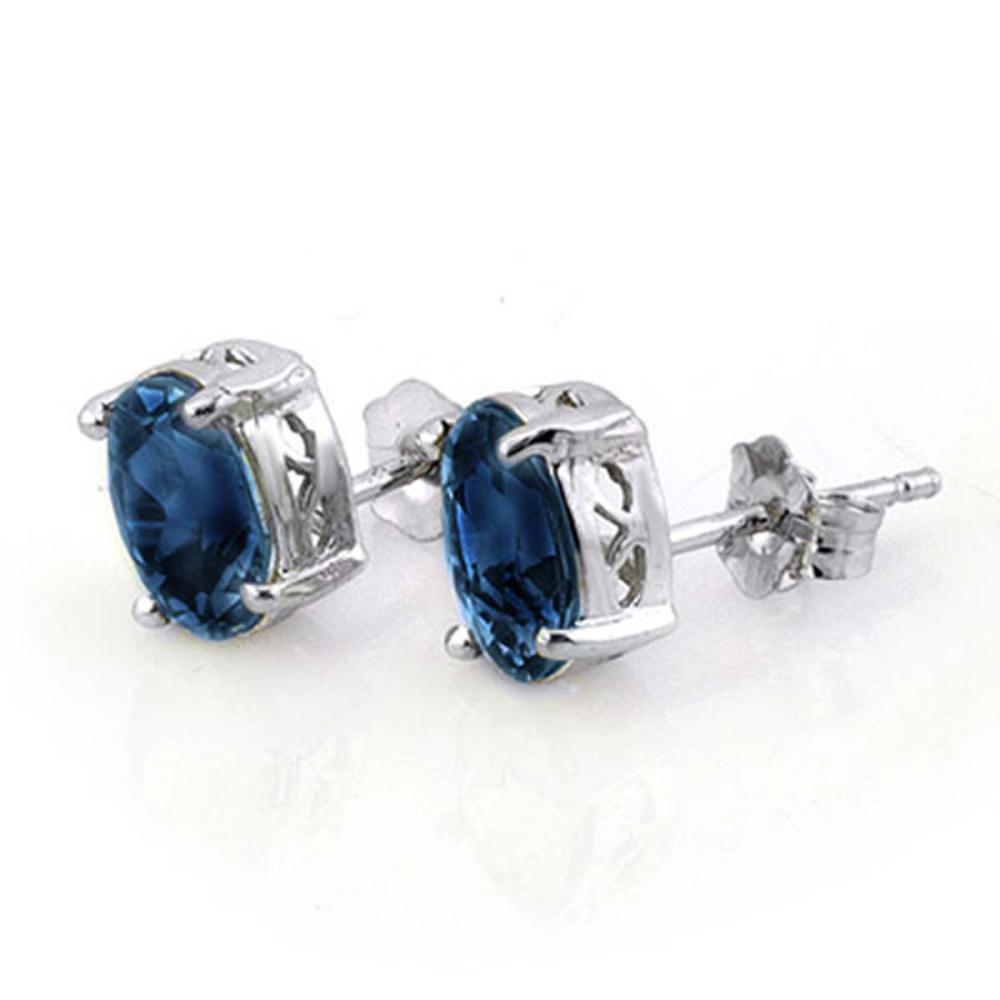 3.0 ctw Blue Sapphire Earrings 18K White Gold