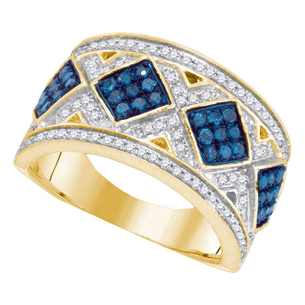 10K Yellow Gold Ring Diagonal Square 0.65ctw Colored Blue Diamond, Diamond,