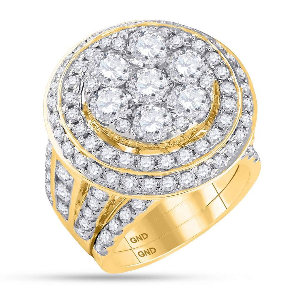 14K Yellow Gold Ring Cluster 7.04ctw Diamond