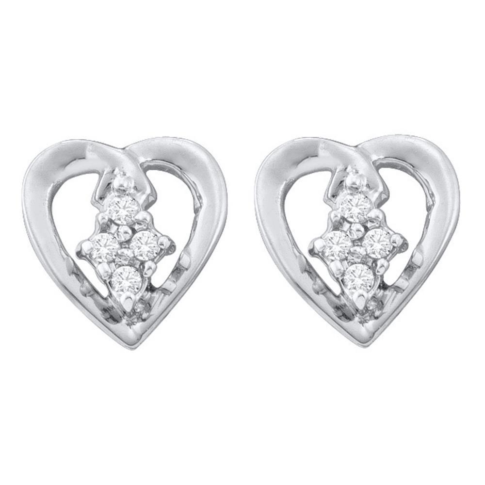 10K White Gold Earrings Heart Cluster 0.08ctw Diamond