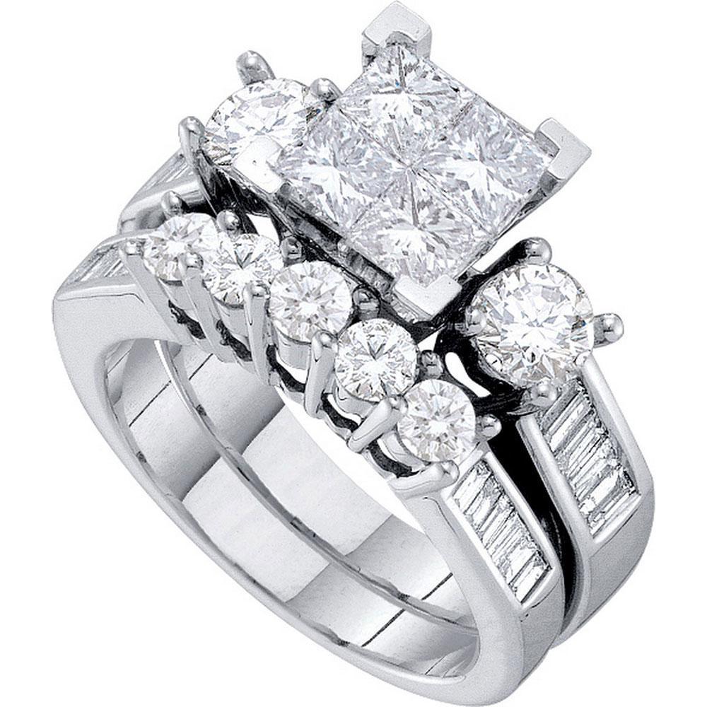 14K White Gold Ring Cluster 1.98ctw Diamond