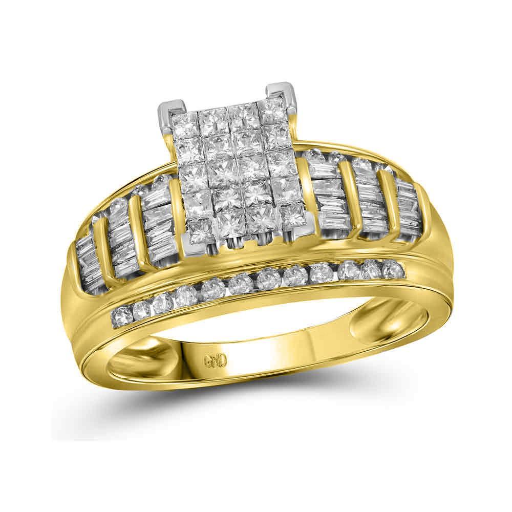 10K Yellow Gold Ring Cluster 1.01ctw Diamond