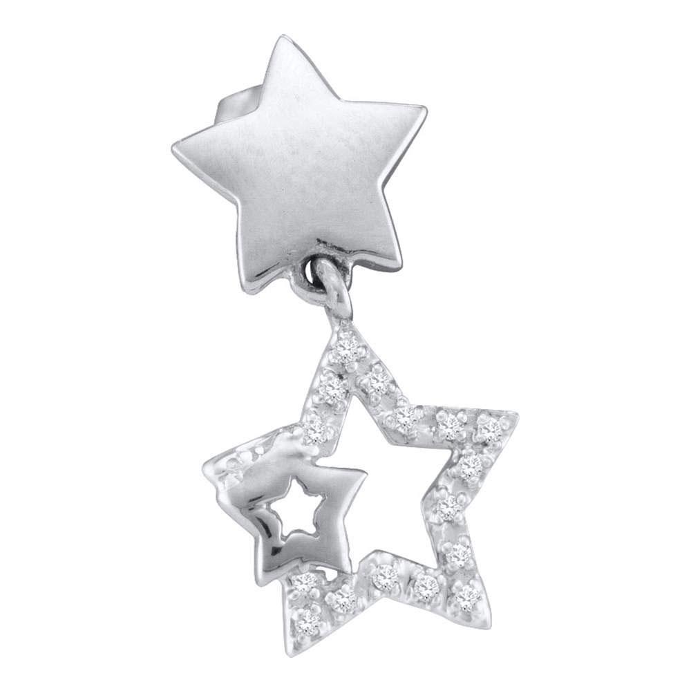 10K White Gold Earrings 0.1ctw Diamond