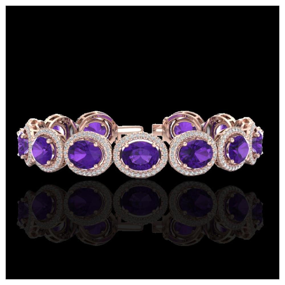 24 ctw Amethyst & Diamond Bracelet 10K Rose Gold