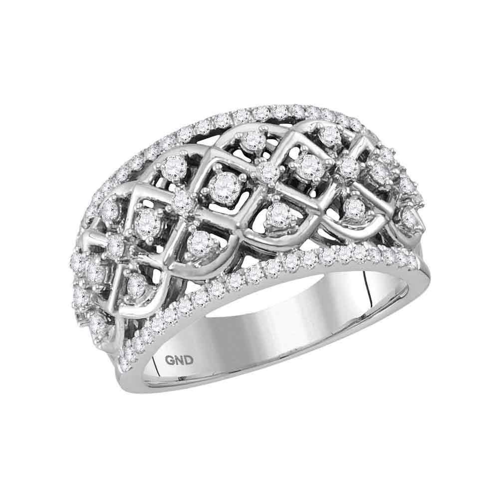 10K White Gold Ring 0.75ctw Diamond